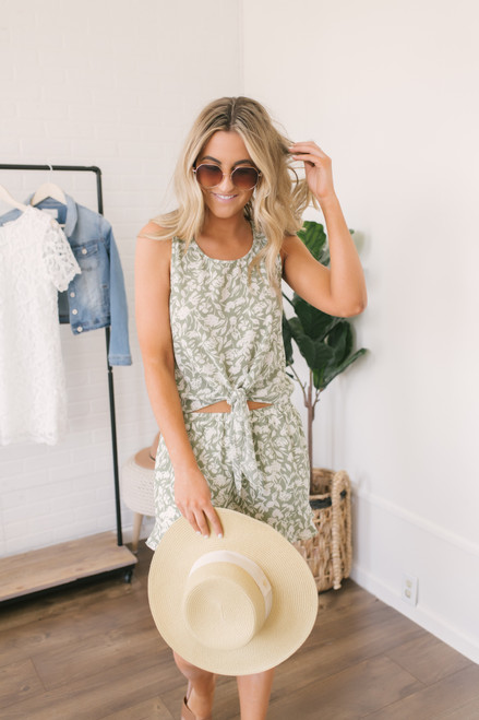 Everly Floral Knot Tank - Summer Sage/Cream - FINAL SALE