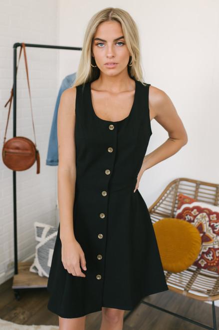 Everly Button Down Tie Back Dress - Black - FINAL SALE