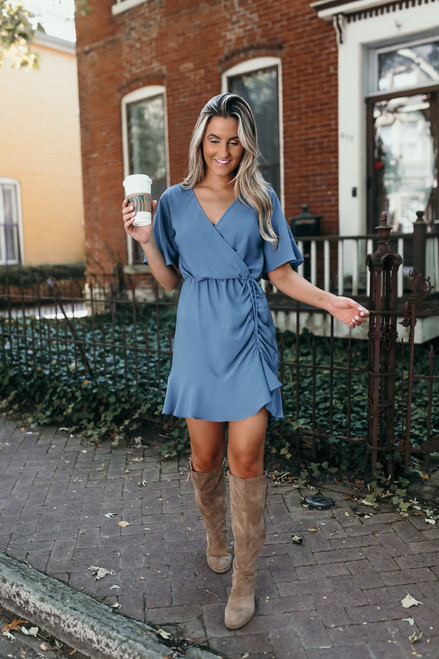Everly Ruched Faux Wrap Dress - Dusty Teal - FINAL SALE