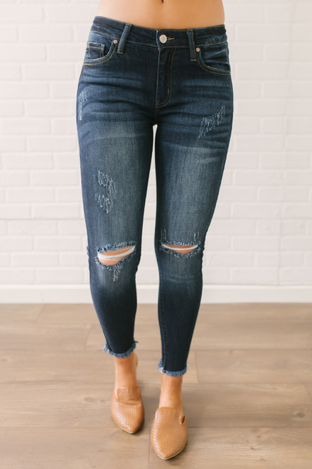 Distressed Frayed Ankle Skinny Jeans - Dark Wash