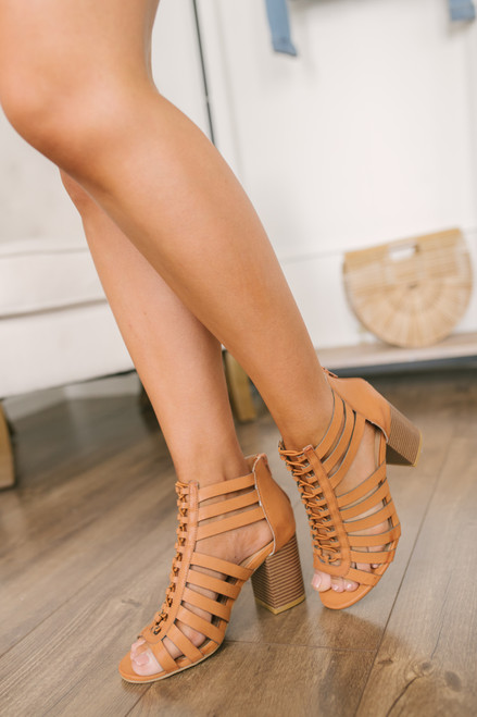 e7ee44e79814 Lace Up Cage Peep Toe Booties - Tan