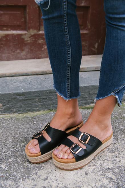 Double Buckle Platform Sandals - Black