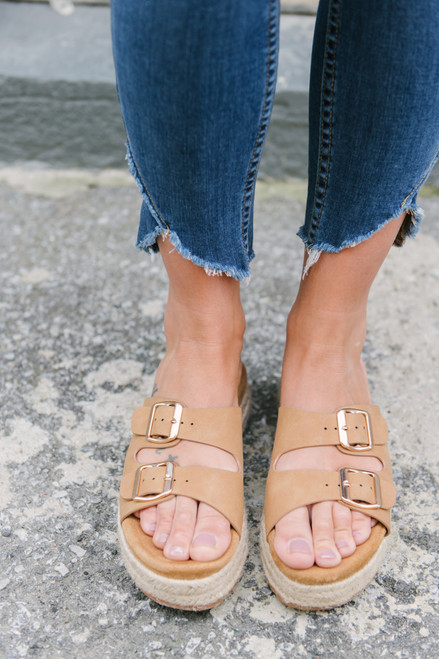 Double Buckle Platform Sandals - Tan - FINAL SALE