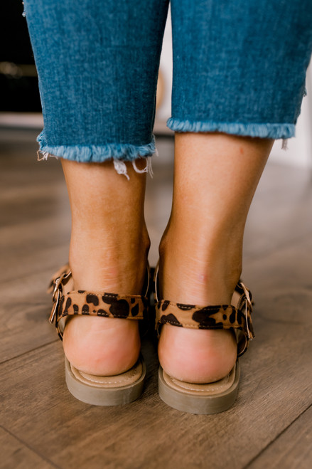 Sunset & Vine Bow Detail Leopard Sandals - Brown