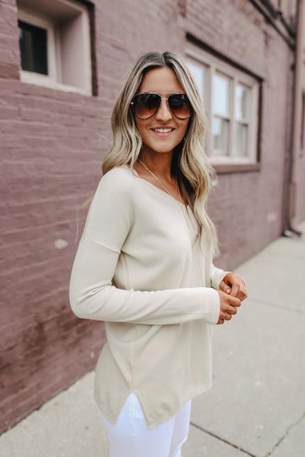 Lightweight V-Neck Sweater - Almond