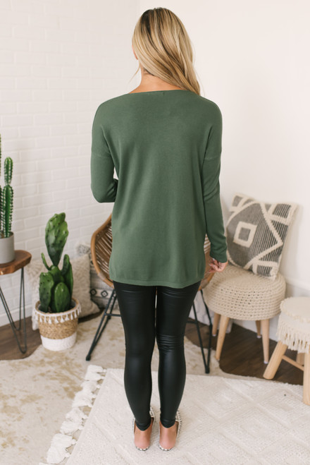Lightweight V-Neck Sweater - Dark Olive