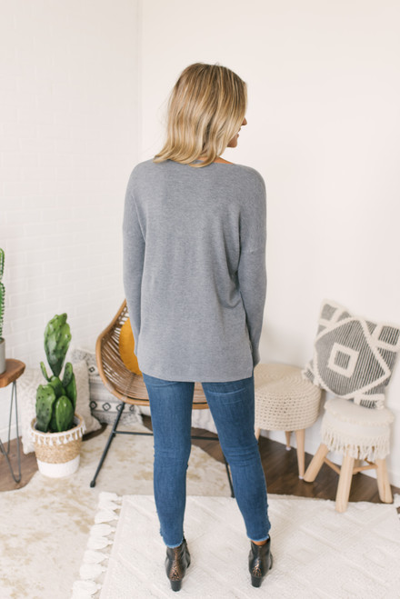 Lightweight V-Neck Sweater - Grey - FINAL SALE