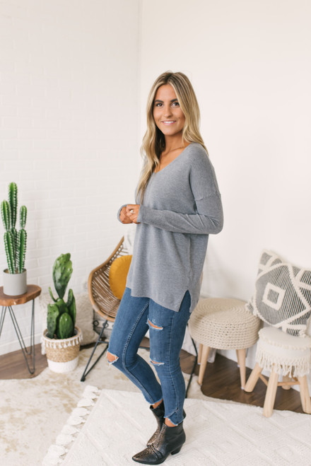Lightweight V-Neck Sweater - Grey