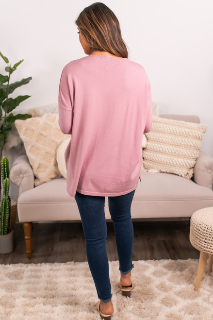 V-Neck Drop Sleeve Sweater - Mauve