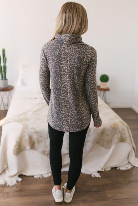 Brushed Cowl Neck Leopard Pullover - Mocha - FINAL SALE
