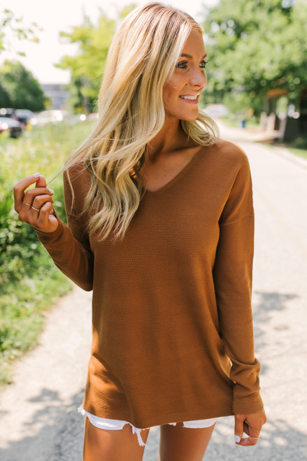 V-Neck Lightweight Waffle Sweater - Copper