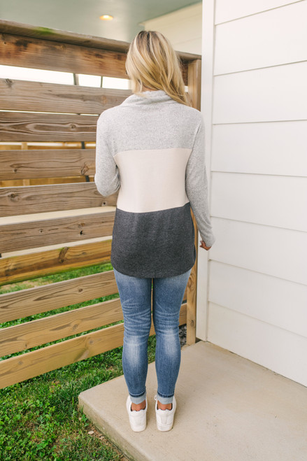 Soft Brushed Cowl Neck Colorblock Pullover - Grey/Oatmeal/Charcoal