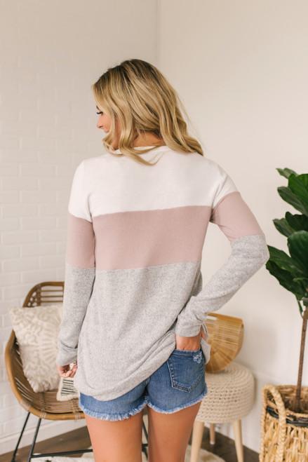 Soft Brushed Colorblock Pullover - Ivory/Mauve/Grey (ESTIMATED END OF SEPTEMBER)
