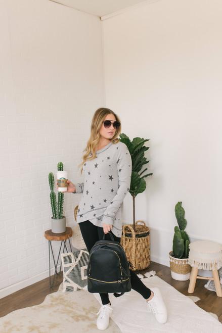 Soft Brushed Tulip Hem Star Pullover - Heather Grey
