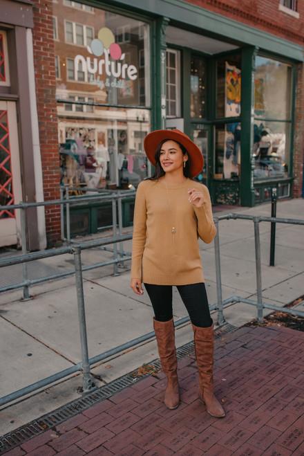 Coffee Date Crew Sweater - Camel