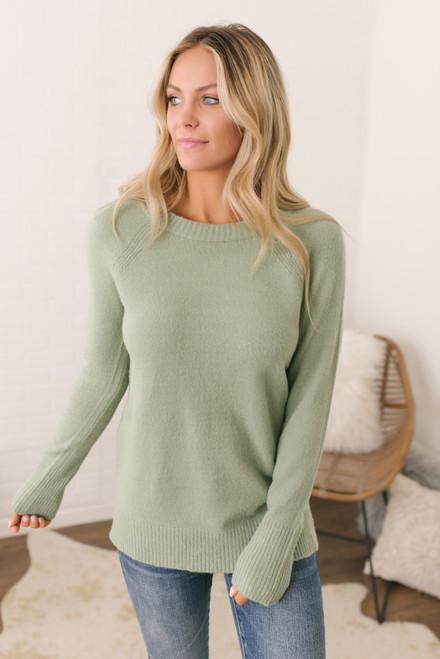 Coffee Date Crew Sweater - Light Sage