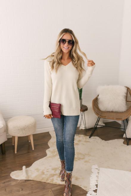 Coffee Run V-Neck Sweater - Ivory  - FINAL SALE