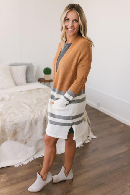 Colorblock Striped Cardigan - Orange/Grey/White