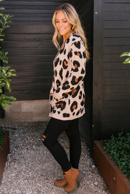 Blair Leopard Pocket Cardigan - Oatmeal - FINAL SALE