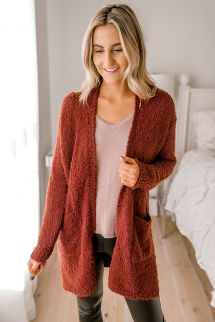 Cozy Pocket Cardigan - Copper Rust