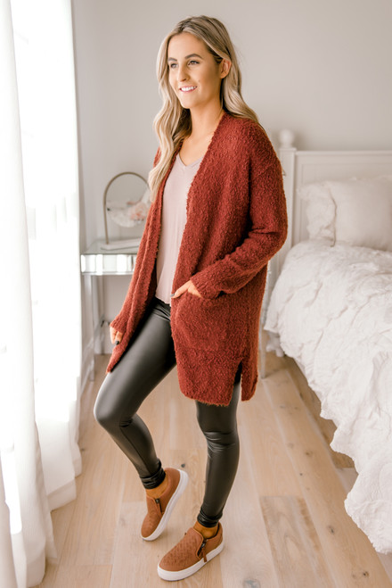 Cozy Pocket Cardigan - Copper Rust - FINAL SALE