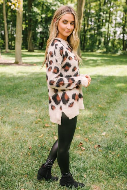 Fuzzy Leopard Sweater - Beige Multi