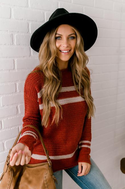 Varsity Stripe Waffle Sweater - Rust/Oatmeal
