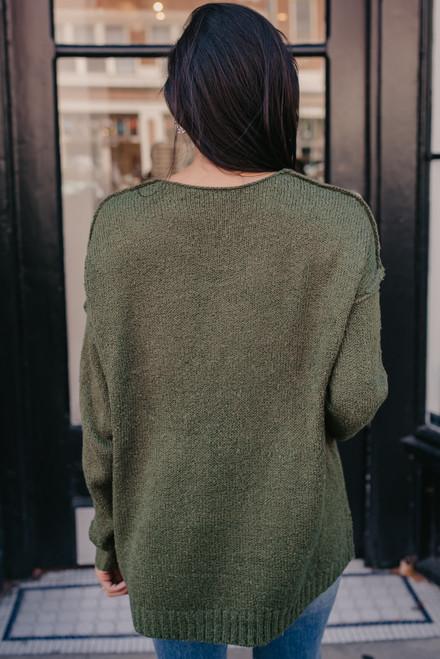 V-Neck Seam Detail Sweater - Olive