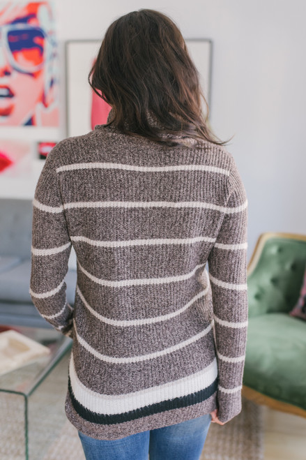 Turtleneck Striped Sweater - Brown/Taupe - FINAL SALE