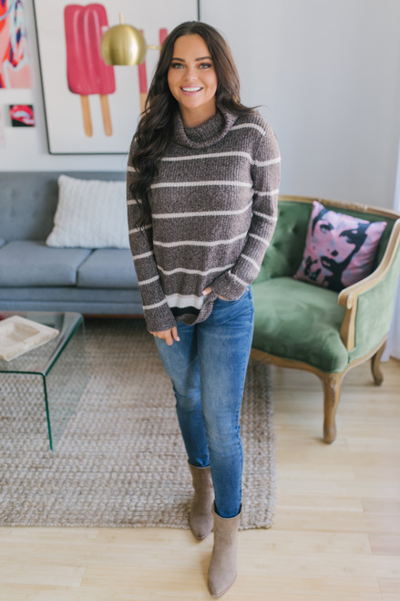 Turtleneck Striped Sweater - Brown/Taupe