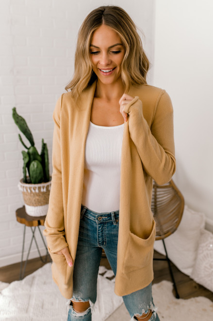 Seam Detail Pocket Cardigan - Light Camel