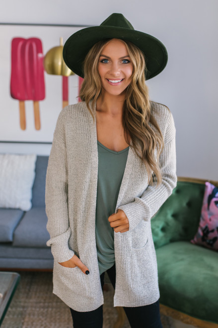 Two Tone Pocket Cardigan - Oatmeal - FINAL SALE