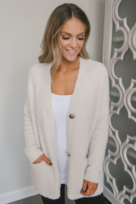 Button Down Fuzzy Cardigan - Oatmeal