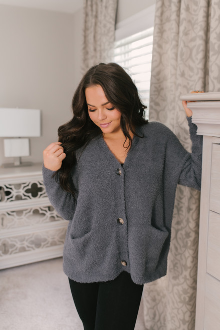 Button Down Fuzzy Cardigan - Charcoal