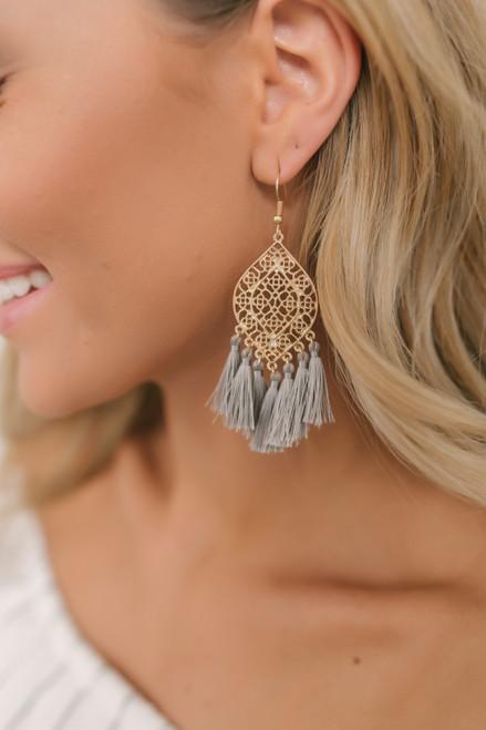 Filligree Tassel Statement Earrings - Grey/Gold