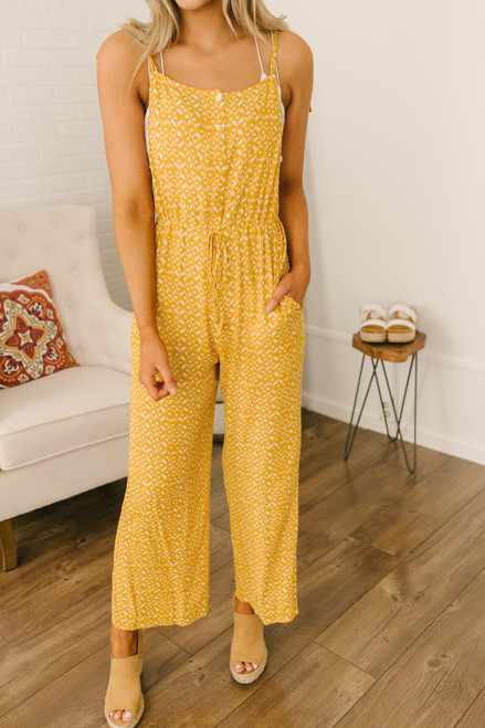 Button Detail Printed Overall Jumpsuit - Mustard/White