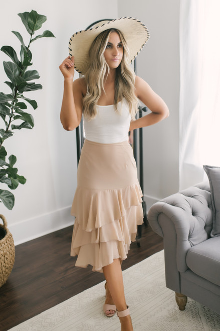 Tiered Ruffle Midi Skirt - Taupe