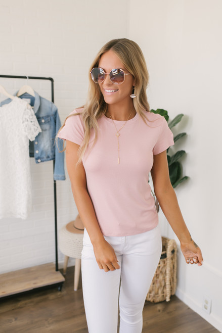 Essential Crew Tee - Dusty Rose