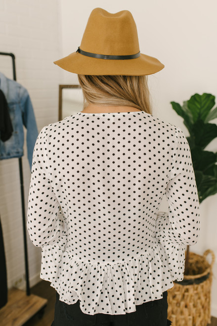 Ruched Detail Polka Dot Peplum Top - White/Black