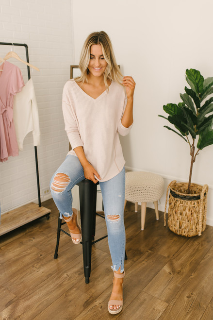 Contrast Stitch Dolman Waffle Top - Natural