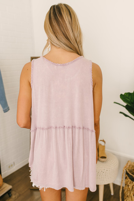 Vintage Wash Crochet Trim Babydoll Tank - Dusty Orchid(EXPECTED END OF MAY)