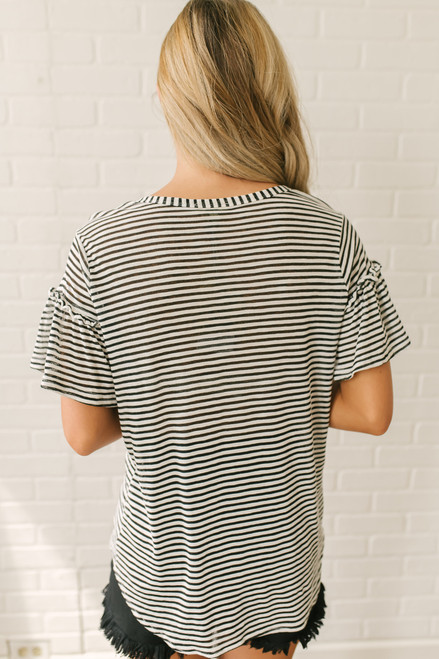 Ruffle Sleeve Button Down Knot Top - White/Black