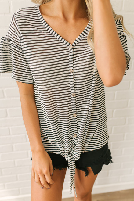 Ruffle Sleeve Button Down Knot Top - White/Black - FINAL SALE