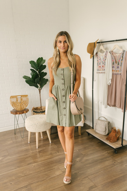 Hunter Mae Button Down Pocket Dress - Olive (EXPECTED END OF MAY)