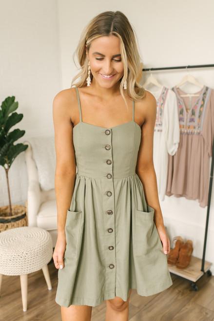 28a5da8006 Hunter Mae Button Down Pocket Dress - Olive