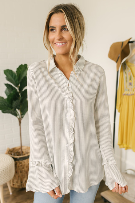 8eddd6f7a98 Button Down Striped Ruffle Top - White Black