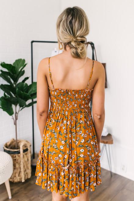Tie Front Ruffle Hem Floral Dress - Dark Mustard