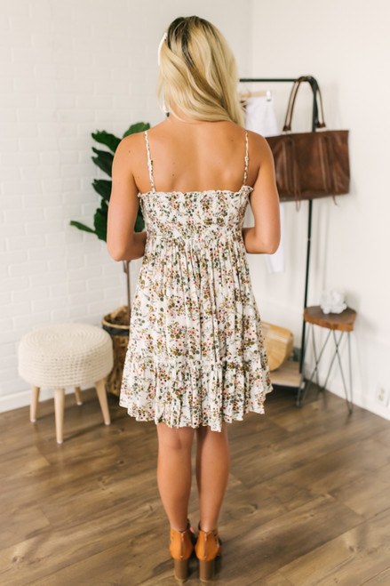 Tie Front Ruffle Hem Floral Dress - White Multi- FINAL SALE
