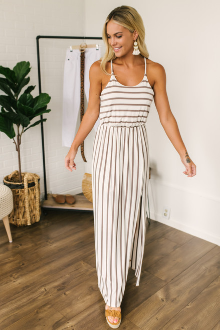 Haven Racerback Striped Slit Maxi - Ivory/Coco