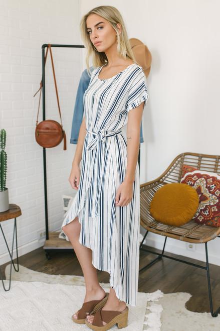 Faux Wrap Striped High Low Midi Dress - White/Navy - FINAL SALE
